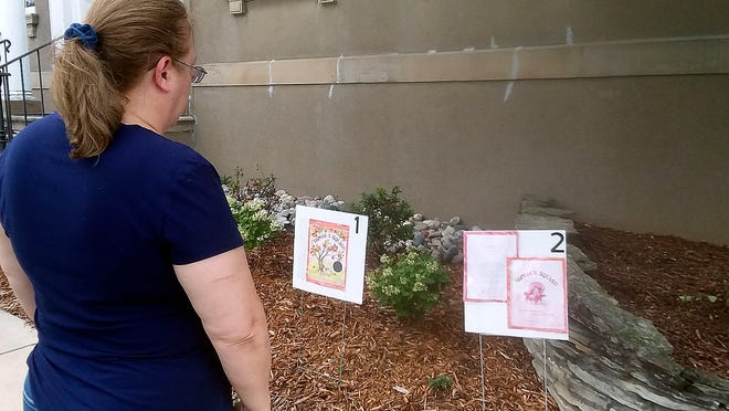 """Beginning of """"storywalk"""" at the New London Library."""