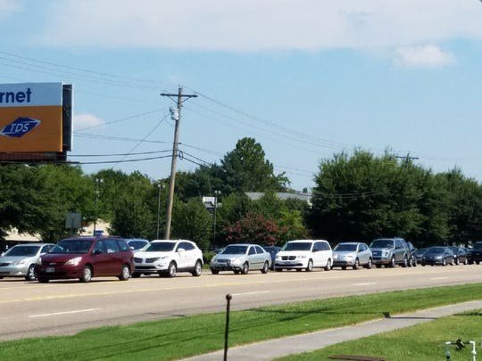 Traffic on Kingston Pike is bumper to bumper in Farragut before the eclipse on Monday, Aug. 21, 2017.