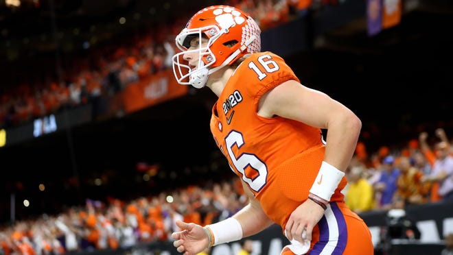Clemson quarterback Trevor Lawrence at the College Football Playoff national championship game against LSU on Jan. 13 at the Mercedes-Benz Superdome in New Orleans.