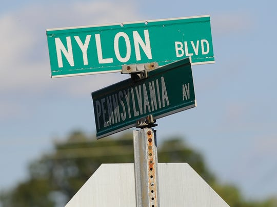 View of the Nylon Blvd street sign in Seaford.  The Invista plant used to be DuPont's nylon factory, which employed 1,200. The parking lot is built to hold 3,000 vehicles.