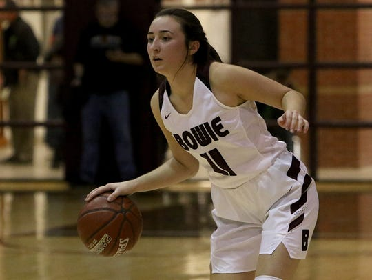 Bowie's Aslyn Davis dribbles in the game against Nocona