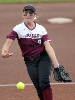 Menomonee Falls pitcher Kenzie Poetzel, shown here in the state quarterfinals Thursday, retired 14 straight hitters in the team's loss to Sun Prairie in the semifinals Friday.