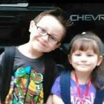 Jacob Hall, left, is pictured with his sister Zoey. Jacob is in critical condition after being shot Wednesday at Townville Elementary School.