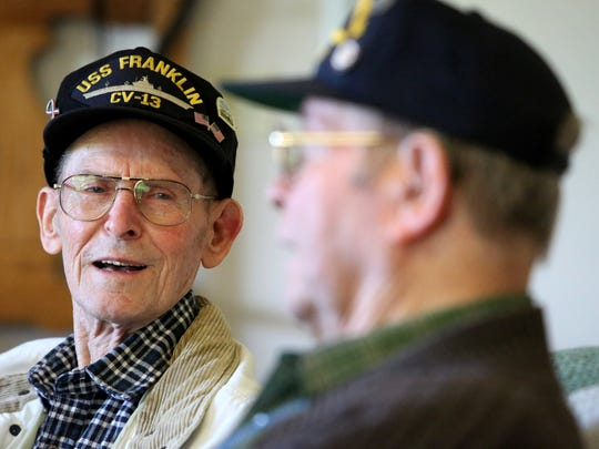 Albert Cole and Donald Nusom both served on the USS Franklin aircraft carrier in World War II. The two had a chance to share stories about the bombing of the carrieron March 19, 1945.