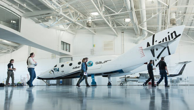 A full-sized model of Virgin Galactic's SpaceShipTwo is seen at Spaceport America in 2016.