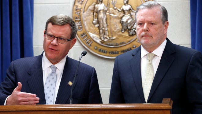 Republican leaders Rep. Tim Moore, left, and Sen. Phil Berger, hold a news conference in Raleigh, N.C. March 28, 2017.