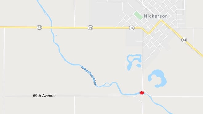 The Nickerson Road bridge over the Arkansas River, highlighted here with a red dot, will close next week for a bridge replacement project that is expected to take until next summer.