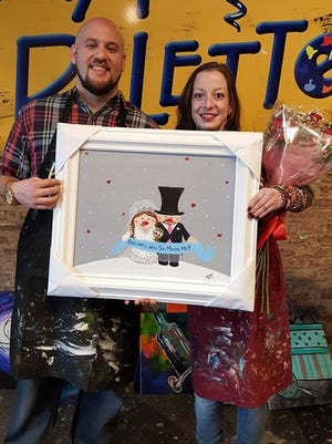 Proposing to your girlfriend can be a very nerve-wracking experience, but for Joshua Heffler of Morristown, the owners of Pinot's Palette Paint & Sip Studio made it as easy and exciting as possible.