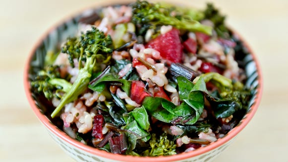 Chard-broccoli-beet wild rice salad, made with vegetables in a CSA share from Prescott's Patch.