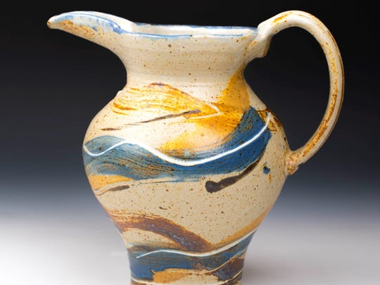 Clay pitcher by John Dietrich of Ellison Bay Pottery, one of the sites on the Door County Potters' Guild Studio Tour taking place May 5-6.