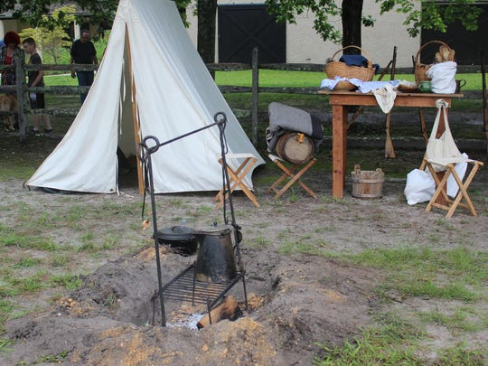 A campfire burned in the center of the Civil War camp on Saturday afternoon at Batsto Village.