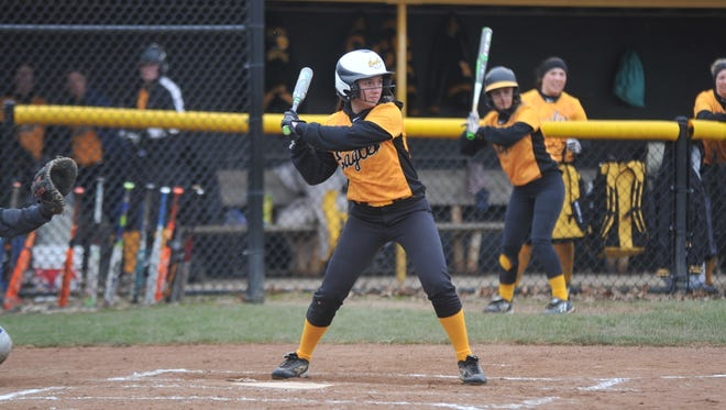 Colonel Crawford's Karlie Kurtzman at the plate earlier in the season against Wynford.