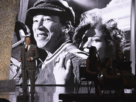 """In this Jan. 13, 2019, file photo, Smokey Robinson speaks at the """"Aretha! A Grammy Celebration For The Queen Of Soul"""" event at the Shrine Auditorium in Los Angeles. The special is set to air on March 10, 2019, on CBS."""