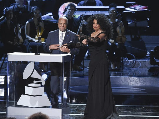 Berry Gordy  and Diana Ross speak onstage during Motown 60: A GRAMMY Celebration at the Microsoft Theater in Los Angeles in February.