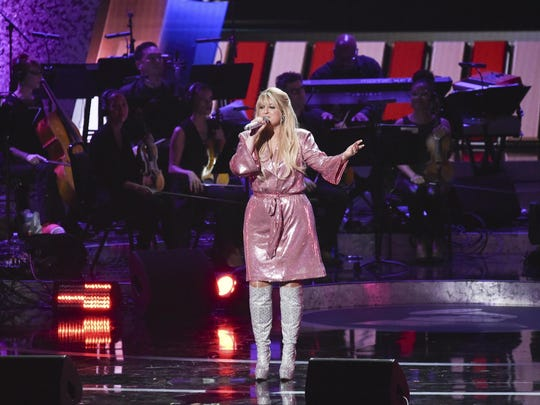 In this Feb. 12, 2019 file photo, Meghan Trainor performs onstage.