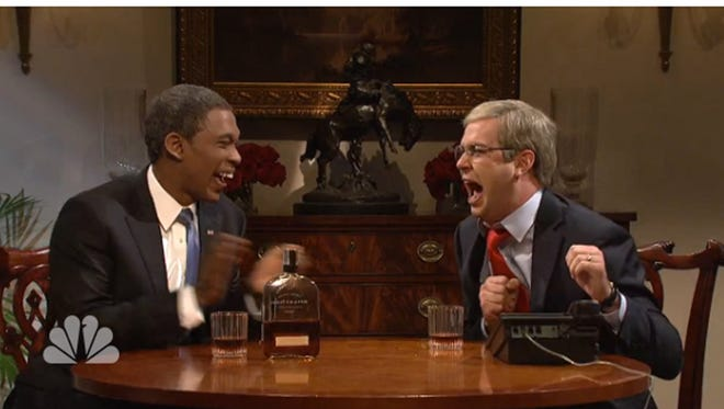 Bourbon Summit screen grab from NBC video showing SNL's bit on the Obama-McConnell meeting