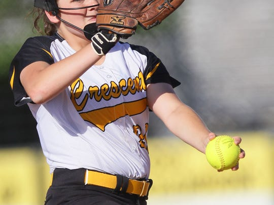 Crescent's Kayla Pepper pitches to Pendleton during the top of the first inning at Crescent High School in Iva.