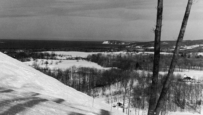 Lake Michigan can be seen from the slopes of Sugar Loaf Mountain in Leelanau County. 1972 photo.