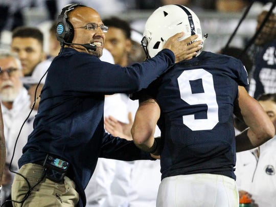 James Franklin celebrates during his team's win over
