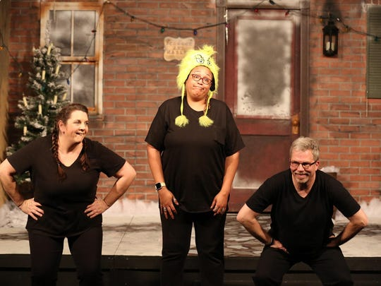 "Colleen Boyle, from left, Brooks Black and Frank Newton star in the Chapel Street Players' ""Every Christmas Story Ever Told (And Then Some!)"""