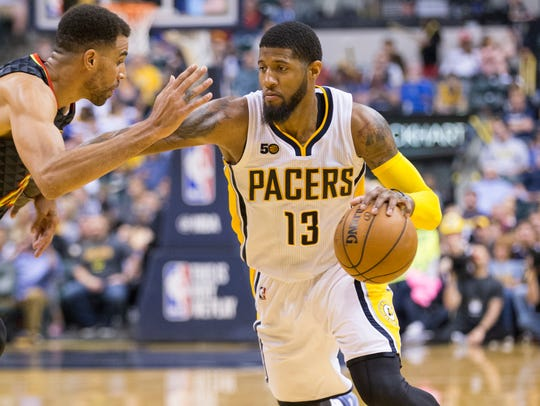 Paul George of Indiana, Atlanta Hawks at Indiana Pacers,