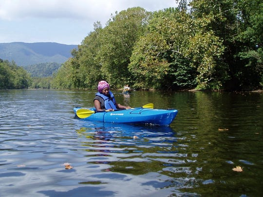 Kayaking on the James River was one of the outdoor activities Waynesboro High School student Shantay Patterson participated in during the school's outdoor recreation class.