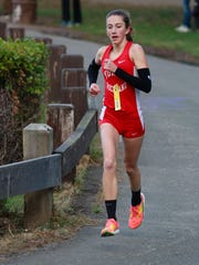Alex Harris from North Rockland High School, runs in the Rockland County Cross Country Championships at Bear Mountain on Oct. 28, 2016.
