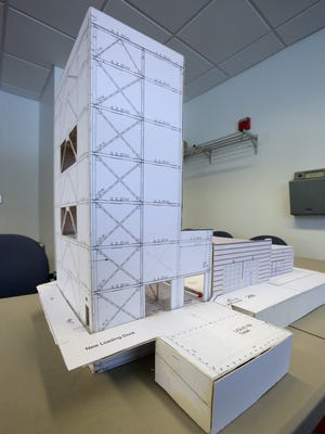 A model of Anellotech's proposed expansion at its building on the Pfizer campus in Pearl River Jan. 30, 2015.