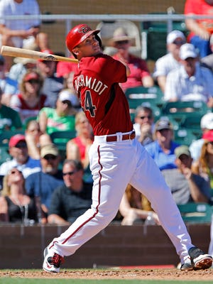 Arizona Diamondbacks first baseman Paul Goldschmidt (44) flies out in the 3rd inning of a spring training game against the Chicago White Sox on March 16, 2015, at at Salt River Fields at Talking Stick.