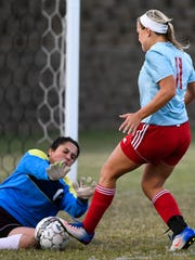 Union County's Miya Powell tries to make a goal kick past Webster County goalie Michala Knight in the first period as Union County plays Webster County in the Girls District Soccer Tournament in Morganfield Monday, October 10, 2016.