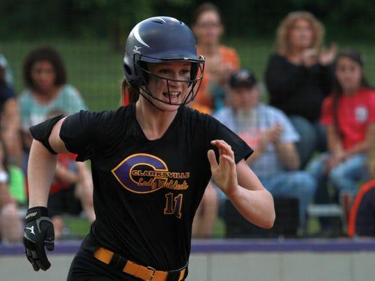 Clarksville High's Haley Bearden runs to first base