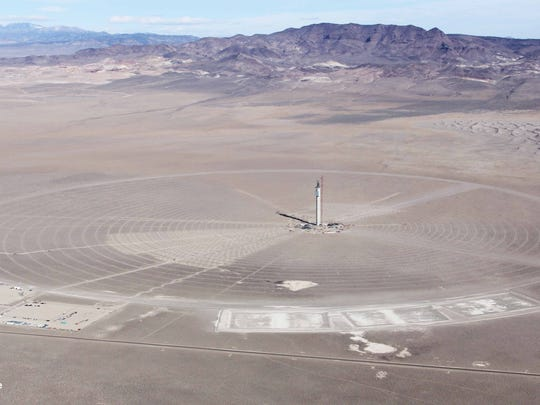 A picture of SolarReserve's Crescent Dunes project in Nevada shows construction on the solar receiver at the top of a 538-foot-tall solar tower, the same technology that would've been used at the Rice project. Santa Monica-based SolarReserve CEO Kevin Smith said the Crescent Dunes project will be fully online by early 2015.