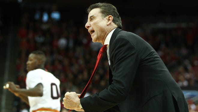 Louisville head coach Rick Pitino yells at his team during the first half. The Cardinals lost to Duke 63-52 at the KFC Yum! Center Saturday. Jan. 17, 2015 By Matt Stone, The Courier-Journal