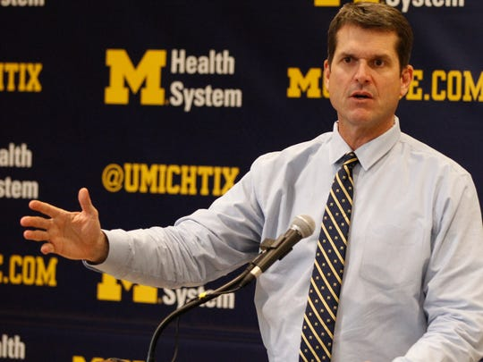 Michigan coach Jim Harbaugh talks about one of his