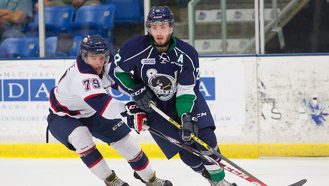 Plymouth Whalers forward and Los Angeles Kings prospect Matt Mistele (right, shown from last season) got the Whalers off to a quick 1-0 lead Wednesday night against the Greyhounds.
