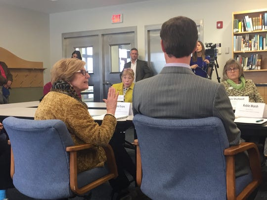 Carol Evans, co-chair of the Eastern Shore of Virginia Tourism Commission, speaks during a roundtable discussion about offshore oil drilling at the Virginia Institute of Marine Science Eastern Shore Laboratory in Wachapreague, Virginia on Monday, April 9, 2018.