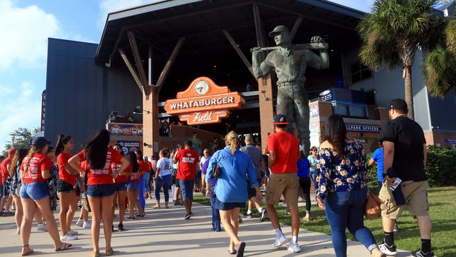 Fans from Ray and Moody gather at the entrance of Whataburger Field for game 1 of the Region IV-5A finals Thursday, June 1 ,2017, in Corpus Christi.