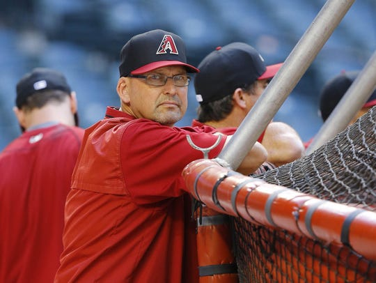 Diamondbacks assistant hitting coach Mark Grace looks