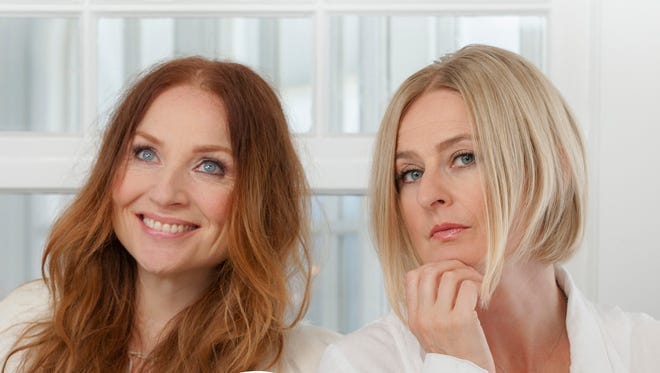 """Judith Owen, left, and Julia Fordham, on the cover of their holiday single, """"White Christmas."""""""