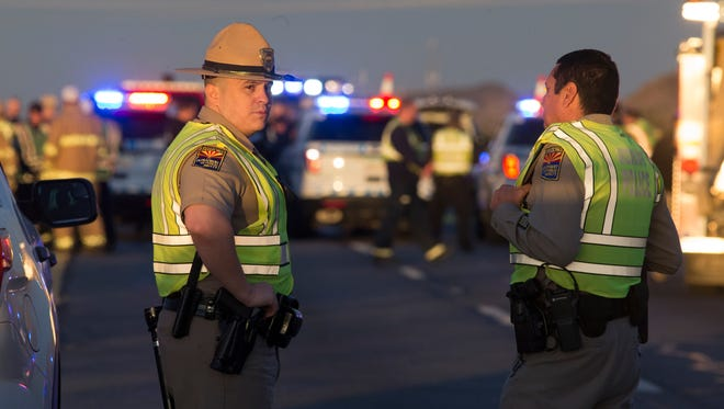 An Arizona Department of Public Safety trooper was shot, Jan. 12, 2017, at the scene of a rollover accident on Interstate 10 near Tonopah.