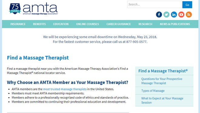 The American Massage Therapy Association offers an online search tool to find certified message therapists.