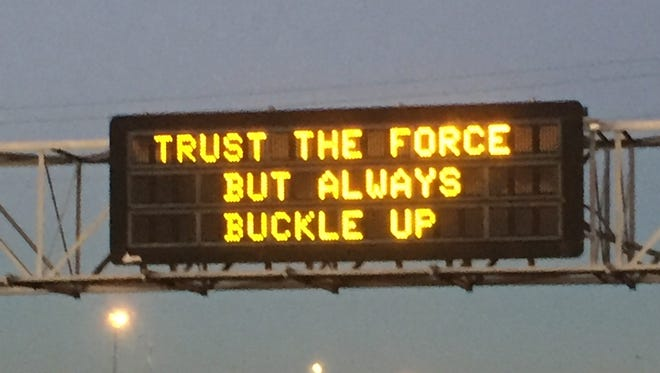 "The Arizona Department of Transportation continued its ""Star Wars"" safe driving campaign Dec. 17, 2015, with this new sign."