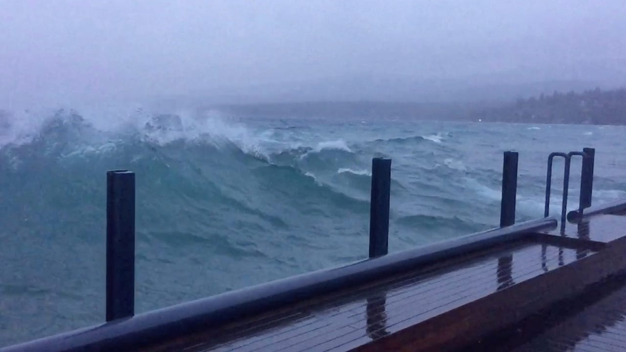 Surf's up! Lake Tahoe basically looked like an ocean on Wednesday