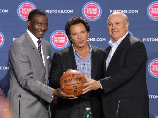 Detroit Pistons head coach Dwane Casey, owner Tom Gores