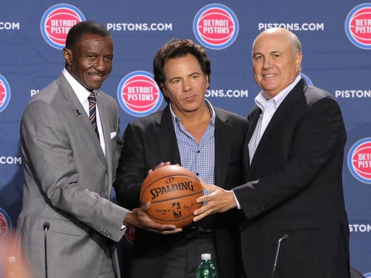 Detroit Pistons head coach Dwane Casey, owner Tom Gores and senior adviser Ed Stefanski, June 20, 2018, at Little Caesars Arena.
