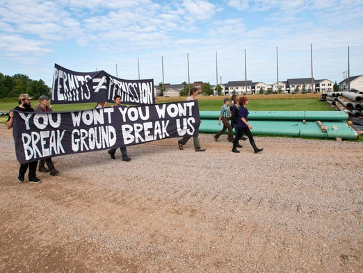 Members of Rising Tide occupy a Vermont Gas construction site in Williston on Wednesday, July 30, 2014. The group opposes a natural gas pipeline that will transport fracked gas to Vermont.
