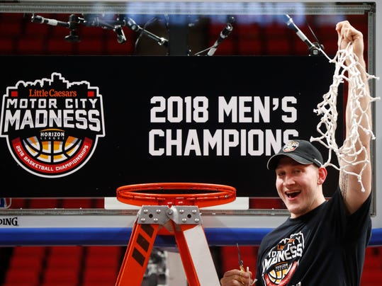 Wright State's Loudon Love celebrates the team's 74-57 win over Cleveland State in an NCAA college basketball game for the championship in the Horizon League men's tournament in Detroit, Tuesday, March 6, 2018. (AP Photo/Paul Sancya)