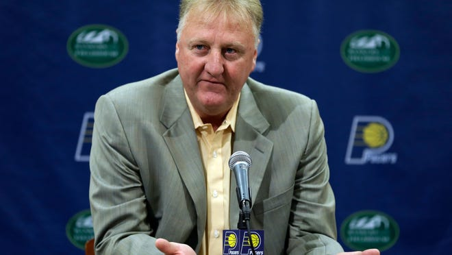 In this 2013 file photo, Larry Bird talks about returning as the Indiana Pacers President of Basketball Operations for the NBA basketball team in Indianapolis, Thursday, June 27, 2013.  (AP Photo/Michael Conroy)