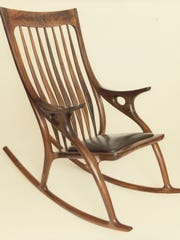 A walnut rocking chair by David Anderson will be among the wood pieces he brings to the Salem Art Fair.