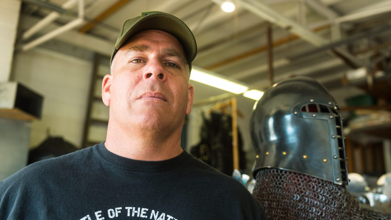 Former US Marine and Armored Combat League Co-Founder Andre Sinou talks shop about different armor and weapons at Icefalcon Armory.